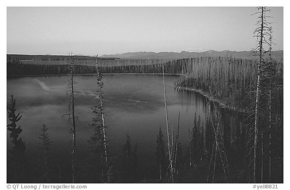 West Thumb at dusk. Yellowstone National Park (black and white)