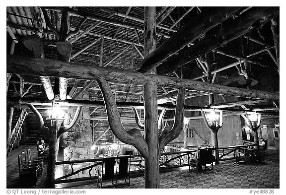 Wooden structures inside Old Faithful Inn. Yellowstone National Park (black and white)