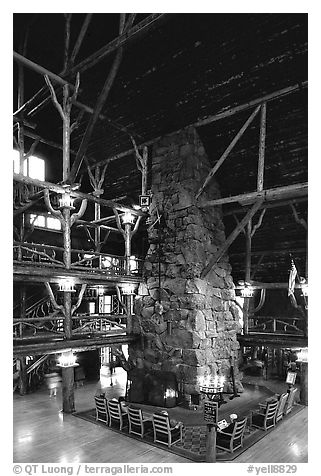 Chimney in main hall of Old Faithful Inn. Yellowstone National Park (black and white)