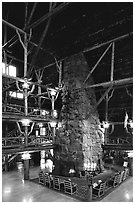 Chimney in main hall of Old Faithful Inn. Yellowstone National Park, Wyoming, USA. (black and white)