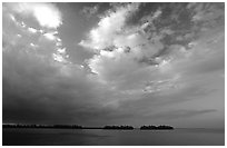 Small islands in Biscayne Bay near Convoy Point, sunset. Biscayne National Park ( black and white)