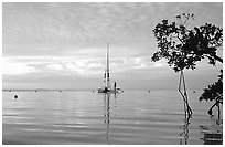 Sailing in Biscayne Bay. Biscayne National Park, Florida, USA. (black and white)