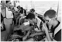 Snorklers getting ready on boat. Biscayne National Park ( black and white)
