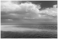 Sand bars, light and clouds, Atlantic Ocean. Biscayne National Park, Florida, USA. (black and white)