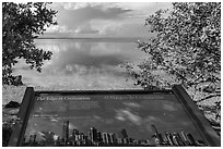interpretive sign, Miami in the distance. Biscayne National Park ( black and white)