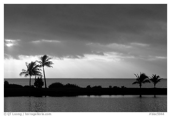 Stormy sunrise over Biscayne Bay from Bayfront Park. Biscayne National Park (black and white)