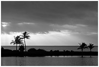 Stormy sunrise over Biscayne Bay from Bayfront Park. Biscayne National Park ( black and white)