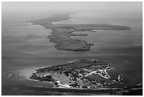 Aerial view of Boca Chita Key and Sands Key. Biscayne National Park ( black and white)