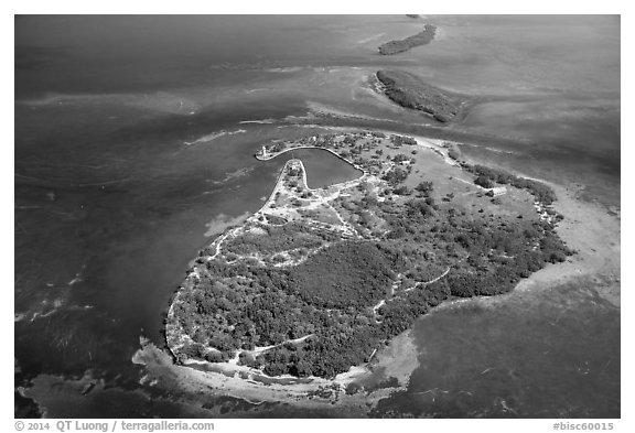 Aerial view of Boca Chita Key and Ragged Keys. Biscayne National Park (black and white)