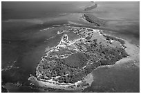 Aerial view of Boca Chita Key and Ragged Keys. Biscayne National Park ( black and white)