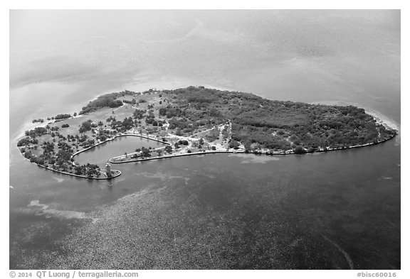 Aerial view of Boca Chita Key. Biscayne National Park (black and white)