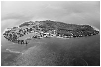 Aerial view of Boca Chita Key. Biscayne National Park ( black and white)