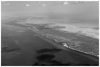 Aerial view of reef, Elliott Key, and Biscayne Bay. Biscayne National Park ( black and white)