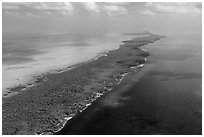 Aerial view of Biscayne Bay, Elliott Key, and Hawk Channel. Biscayne National Park ( black and white)