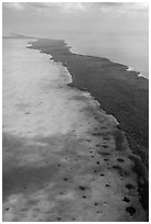 Aerial view of Biscayne Bay and Elliott Key. Biscayne National Park ( black and white)