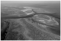 Aerial view of Ceasar Creek. Biscayne National Park ( black and white)