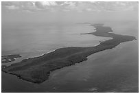 Aerial view of barrier island keys. Biscayne National Park ( black and white)