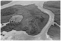 Aerial view of Hurricane Creek on Old Rhodes Key. Biscayne National Park ( black and white)