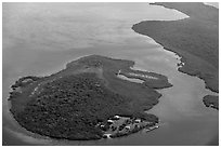Aerial view of Adams Key. Biscayne National Park ( black and white)