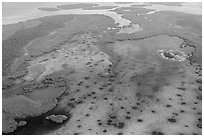 Aerial view of Jones Lagoon. Biscayne National Park ( black and white)