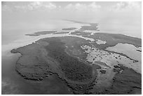 Aerial view of whole chain of keys. Biscayne National Park ( black and white)