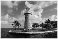 Lighthouse, Boca Chita Key. Biscayne National Park ( black and white)