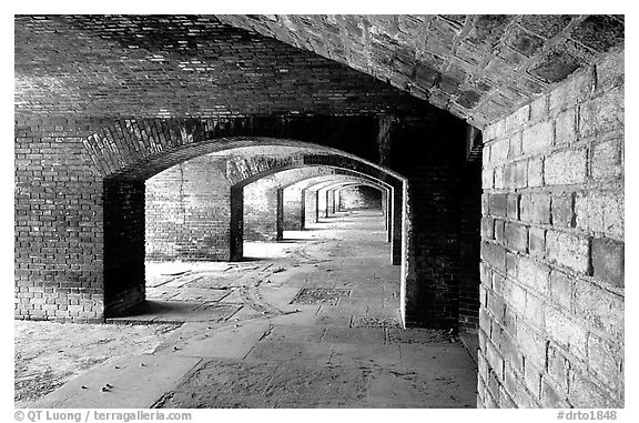 Gunroom on the first floor of Fort Jefferson. Dry Tortugas National Park (black and white)
