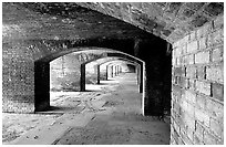 Gunroom on the first floor of Fort Jefferson. Dry Tortugas National Park, Florida, USA. (black and white)