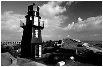 Fort Jefferson lighthouse overlooking Ocean,  early morning. Dry Tortugas National Park ( black and white)