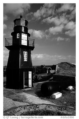 Fort Jefferson lighthouse, early morning. Dry Tortugas National Park (black and white)