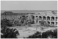 Inside Fort Jefferson. Dry Tortugas National Park, Florida, USA. (black and white)