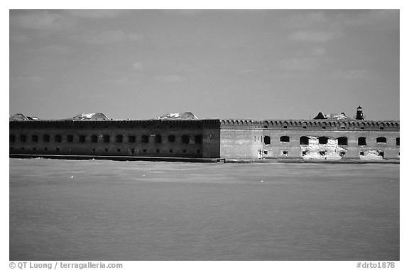 Fort Jefferson seen from ocean. Dry Tortugas National Park (black and white)