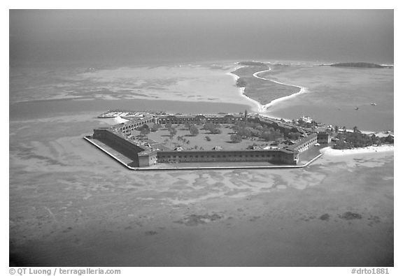 Aerial view of Garden, Bush, and Long Keys. Dry Tortugas National Park (black and white)