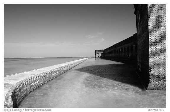 Fort Jefferson moat and seawall. Dry Tortugas National Park (black and white)