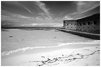 Beach and Fort Jefferson. Dry Tortugas National Park, Florida, USA. (black and white)