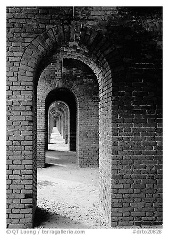 Arches on the second floor of Fort Jefferson. Dry Tortugas National Park (black and white)