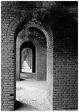 Arches on the second floor of Fort Jefferson. Dry Tortugas National Park, Florida, USA. (black and white)
