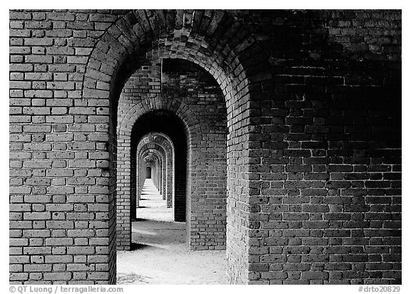 Gallery of brick arches, Fort Jefferson. Dry Tortugas National Park (black and white)