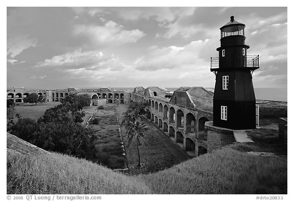 Fort Jefferson lighthouse, dawn. Dry Tortugas National Park (black and white)