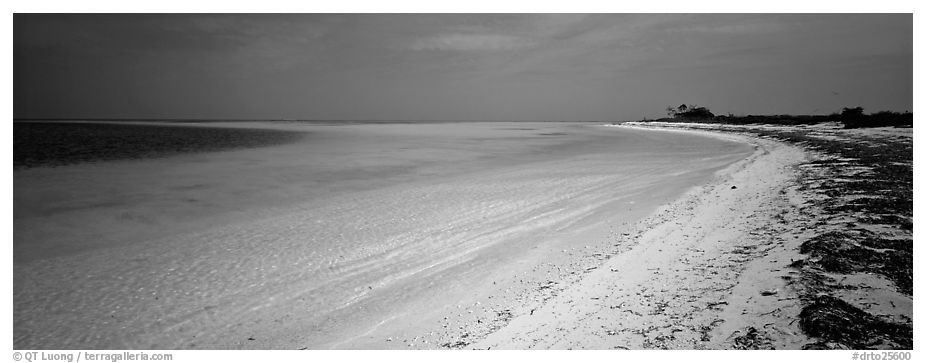Deserted tropical beach with turquoise water. Dry Tortugas National Park (black and white)