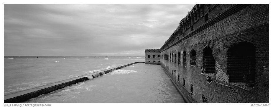 Oceanscape with brick wall. Dry Tortugas National Park (black and white)