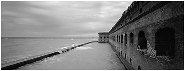 Oceanscape with brick wall. Dry Tortugas National Park (Panoramic black and white)