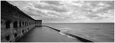 Fort Jefferson wall and ocean. Dry Tortugas National Park (Panoramic black and white)