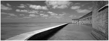 Moat and Fort Jefferson brick wall. Dry Tortugas National Park (Panoramic black and white)