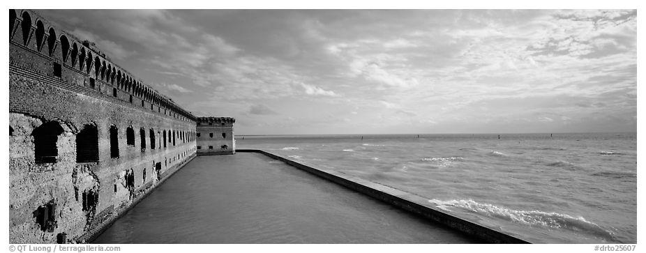 Seascape with fort and seawall. Dry Tortugas National Park (black and white)