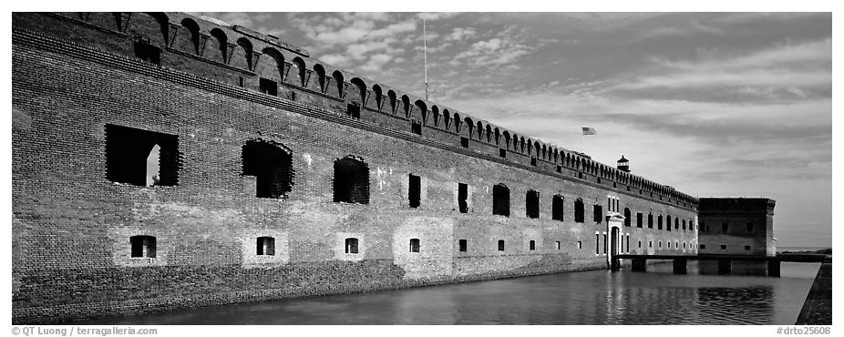 Fort Jefferson reflected in moat. Dry Tortugas National Park (black and white)