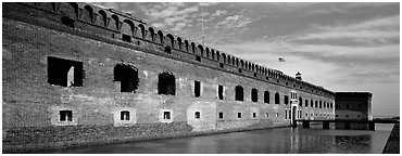 Fort Jefferson reflected in moat. Dry Tortugas National Park (Panoramic black and white)