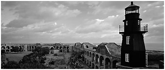 Lighthouse and Fort Jefferson. Dry Tortugas National Park (Panoramic black and white)