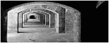 Arches in Fort Jefferson lower level. Dry Tortugas National Park (Panoramic black and white)