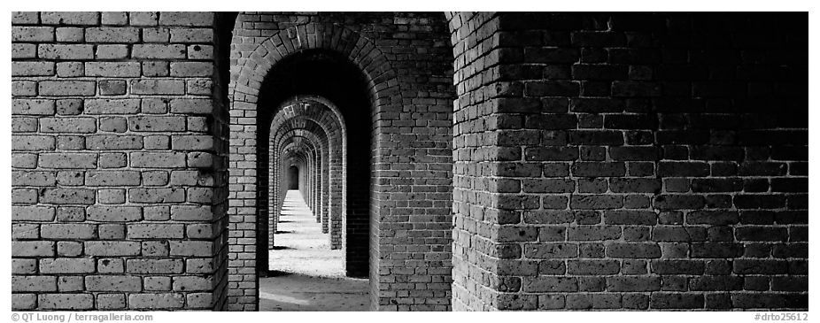 Brick walls and arches. Dry Tortugas  National Park (black and white)